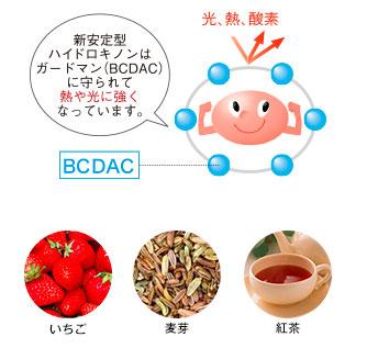 安定型ハイドロキノンはガードマン(BCDAC)に守られて熱や光に強くなってます。「いちご・麦芽・紅茶の写真」