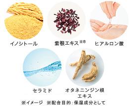 イノシトール・紫根エキス・ヒアルロン酸・セラミド・オタネニンジン根エキス。保湿成分5つの写真画像